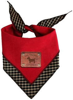 Add some wagtastic style to your pup's look with the Tail Trends Reversible Dog Bandana. This cute accessory delivers two styles in one with its reversible design. It features a unique scoop neck design, stylish checkered print and solid color with cute applique, expertly made by an artisan in Los Angeles using comfy 100% cotton. Thanks to its stitched edge and comfortable fabric, it's ultra-wearable and easy to spot clean. To put it on, simply wrap around your dog's neck, and then just flip…