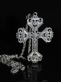 Vintage GOTHIC CROSS Pendant & Chain  ~ Limited Edition  Large c1974 Sarah Conventry - $49