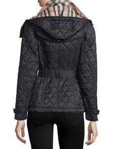 $695 NWT BURBERRY LONDON Lightweight Finsbridge Hooded Belted Quilted Coat Sz L