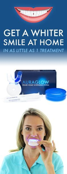 Want to get rid of unsightly yellow teeth from coffee, wine, soda, tea, smoking and more? Try the AuraGlow Deluxe Home Whitening System and see results after your first treatment.