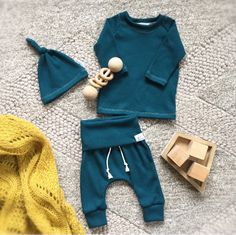 A personal favorite from my Etsy shop https://www.etsy.com/listing/543047342/baby-boy-teal-blue-thermal-outfit-baby