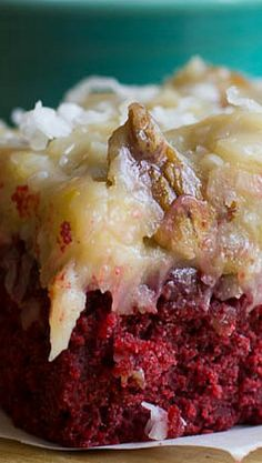 German Chocolate-Red Velvet Cake. My two favorite cakes in one.  I better not make this!