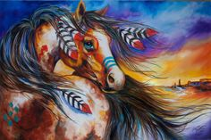 """5 Feathers Indian War Horse"" par Marcia Baldwin"