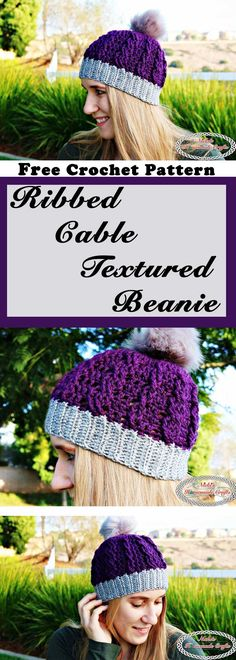 Ribbed Cable Textured Beanie - Free Crochet Pattern by Nicki's Homemade Crafts