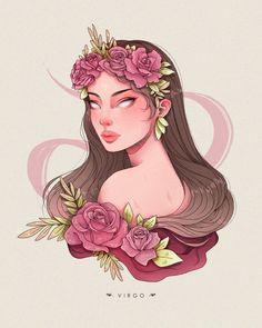 Anime Zodiac, Zodiac Art, Character Art, Character Design, Virgo Art, Zodiac Characters, Zodiac Star Signs, Pretty Art, Fantasy Art