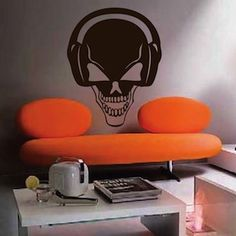 Skull Headphones Wall Decal