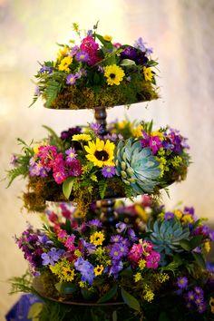 Towering Sunflower, Succulent, Wildflower Reception Decor