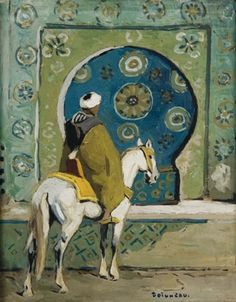 Cavalier devant la fontaine Néjarine (Fès) von Edouard Edmond Doigneau