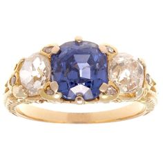 Victorian Three-Stone No Heat Ceylon Sapphire Diamond Gold Ring 1