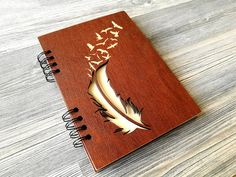 Wooden Notebook Feather Birds Wood Journal A5 Wood Cover