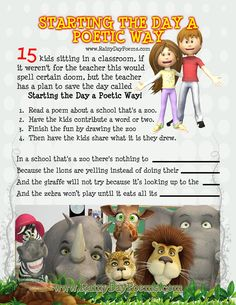 Starting The Day A Poetic Way - September 2015 - a great way to introduce poetry to your classroom. Building For Kids, Save The Day, A Classroom, Poems, Teddy Bear, Teacher, How To Plan, Reading, School