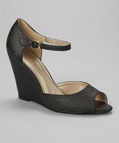 Loving this Black Melrose Peep-Toe Wedge on #zulily! #zulilyfinds