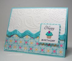 Cuttlebug card ideas - love the rick rack Homemade Birthday Cards, Homemade Greeting Cards, Greeting Cards Handmade, Homemade Cards, Birthday Cards For Women, Happy Birthday Cards, Birthday Greetings, Rick Rack, Scrapbooks
