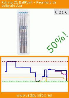 Rotring D1 BallPoint - Recambio de bolígrafo Azul (Productos de oficina). Baja 50%! Precio actual 6,21 €, el precio anterior fue de 12,50 €. https://www.adquisitio.es/rotring/d1-ballpoint-recambio
