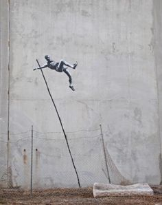 BANKSY – Pole vault to freedom!