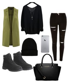 """olive green"" by rabiahk ❤ liked on Polyvore featuring moda, Timberland, MICHAEL Michael Kors y NLY Accessories"