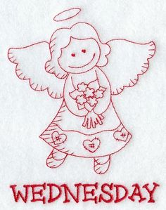 Machine Embroidery Designs at Embroidery Library! - A Days of the Week Redwork Angels Design Pack - Sm Christmas Embroidery, Hand Embroidery Patterns, Embroidery Applique, Cross Stitch Embroidery, Machine Embroidery Designs, Cross Stitch Patterns, Learning To Embroider, Monochrom, Copic