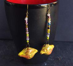 Earrings birds Yellow canary dangle Multicolor seed bead