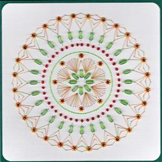 Christmas mandala on Craftsuprint designed by Emy van Schaik - made by - Stitching with beads.This mandala is easy to make. I did love making this pattern.I have used a varigated thread in Chrtmas colours. Used rice and glassbaeds and spacers.Have fun making this card. - Now available for download!