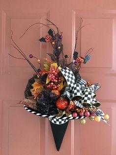 MY OWN Witch Hat Wreath Wall Decor MacKenzie-Childs Ribbon - Halloween - BOO! #Handmade