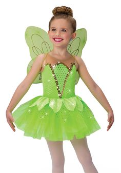 - Tink Shown with: - Wings by A Wish Come True Cute Dance Costumes, Cat Costumes, Carnival Costumes, Dance Outfits, Dance Dresses, Costumes For Little Kids, Tinkerbell, Little Girl Ballerina, Tinker Bell Costume