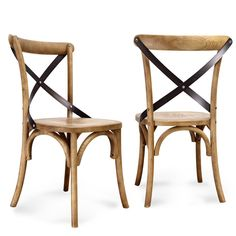 Complete your dining area with these two vintage inspired chairs. Constructed of durable elm wood in a natural finish, these pieces are a stylish addition to any space.