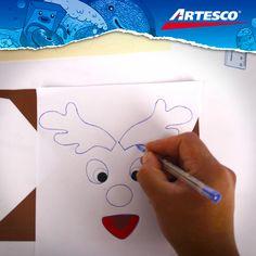 Calcas el dibujo del reno sobre la cartulina.
