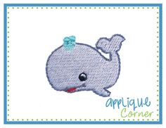 Whale Mini Filled Embroidery Design