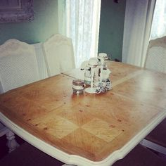 Vintage dining table six chairs, painted and waxed Annie Sloan cream