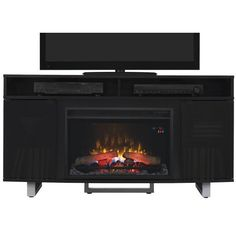 Classic Flame Enterprise Media Mantel in Lite Black
