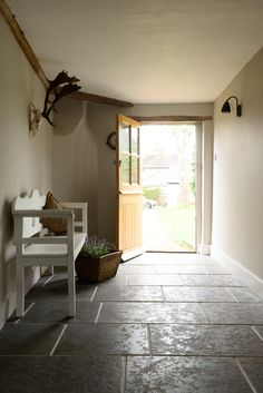 Our latest photo shoot took place in this stunning Grade II listed building in the Leicestershire countryside. Our Tumbled Antiqued Ash Limestone has been laid on the hallway floor, to recreate the original flagstone flooring.