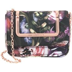 Ted Baker Sefina Shadow Floral Clutch Bag, Mid Grey ($105) ❤ liked on Polyvore featuring bags, handbags, clutches, metallic clutches, metallic handbags, purse, special occasion handbags and floral clutches