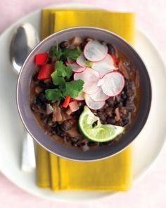 Cuban Black Bean Stew with Rice Satisfying bean soups often have to simmer for hours; this vegetarian stew tastes as if it did but uses canned beans and broth as shortcuts. Black Bean Stew, Cuban Black Beans, Black Beans And Rice, White Rice, Brown Rice, Quick Vegetarian Dinner, Vegetarian Stew, Vegetarian Recipes, Vegetarian Dinners