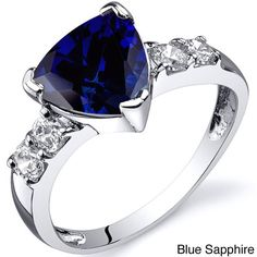Oravo Sterling Silver Trillion Gemstone and Cubic Zirconia Ring (Blue Sapphire Size 5), Women's