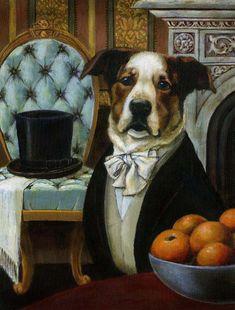 Dog Dandy Portrait  Animal Portrait by CuriousPortraits on Etsy, $20.00