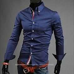 Men's Fashion Plaid Slim Fit Business Long Sleeved Shirt 2016 - £11.19