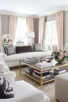Soft pink, gray and beige make a gorgeous trio: http://www.stylemepretty.com/living/2015/07/08/the-prettiest-sofas-ever/