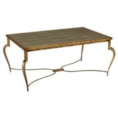 Dunnock Regency Brass Shagreen Arched Leg Coffee Table | Kathy Kuo Home