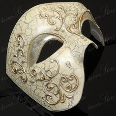 Phantom of the Opera Venetian Masquerade Mask for Men Silver Lining Mens Masquerade Mask, Venetian Masquerade Masks, Masquerade Ball, Mask Painting, Antique Perfume Bottles, Phantom Of The Opera, Hand Blown Glass, Decorative Accessories, Mardi Gras