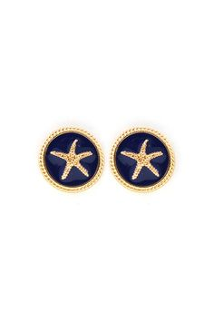 Starfish Button Earrings in Navy.