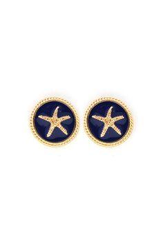 Starfish Earrings in Navy