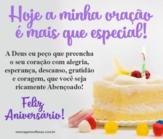 Feliz Aniversário com Uma Oração Especial Birthday Msg, Birthday Wishes, Happy Birthday, Happy B Day, Food, Pasta, Prints, Instagram, Daughter Birthday Message