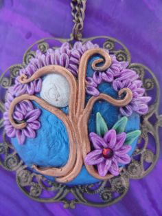 Polymer Clay Moon Tree pendant