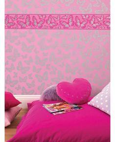 Butterfly Metallic Pink Wallpaper