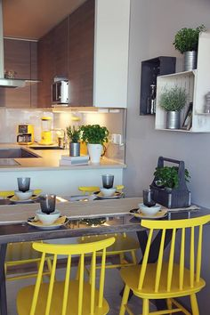Cool colours, laidback home Primary Colors, Colours, Cool Stuff, Kitchen, Table, Chairs, Furniture, Yellow, Red