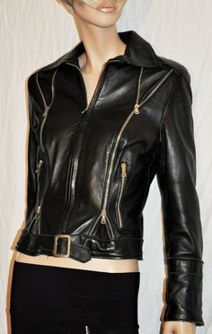 70s Original Made in Italy Black Leather Woman Biker Jacket Size M Chiodo…