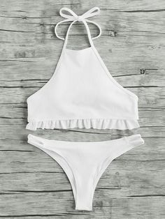 Shop Ruffle Hem Ribbed Halter Bikini Set online. SheIn offers Ruffle Hem Ribbed Halter Bikini Set & more to fit your fashionable needs.