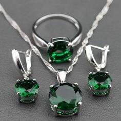 Silver Jewelry Set with Green Zircon 5 pieces including Earrings, Pendant, Necklace and Ring //Price: $24.95 & FREE Shipping //     #sterlingsilverjewellery