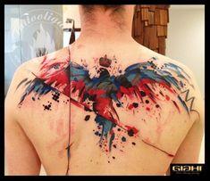 Tatuagem Aquarela nas costas