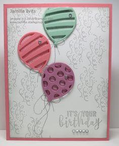 """""""Balloon Adventures"""" stamp set (142823) Balloon Pop-Up Thinlits (142753) rhinestones"""